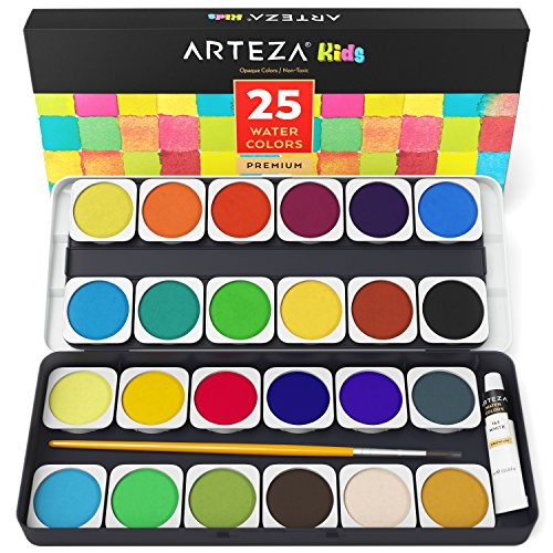 Arteza Kids Premium Watercolor Paint Set, 25 Vibrant Color Cakes, Includes Paint Brush (Set of 25), Art Supplies for Watercolor Painting, for Kids and Adults