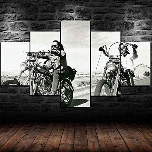 bnkrtopsu 5 Wandkunst Stück Leinwand 5 Leinwandbilder auf Leinwand für Heimdekoration und Poster Easy Rider Hell Angel Biker (150x80cm Rahmenlos)
