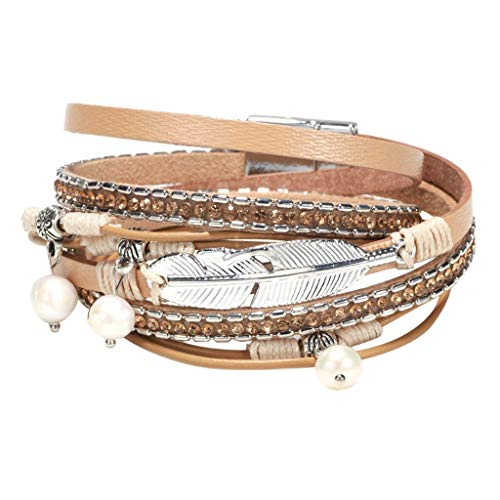 Multi Layer Leather Bracelet Braided Wrap Cuff Bangle Alloy Magnetic Clasp Handmade Under 5 Dollars for Lovers
