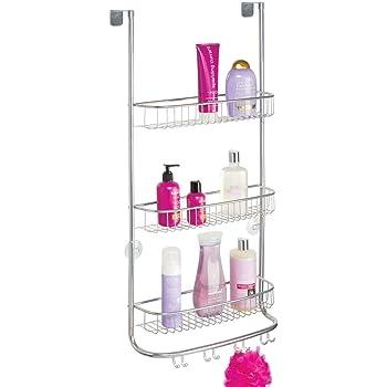 mDesign Estantería de ducha para colgar – Colgador para ducha de fácil instalación sin agujeros – Cestas metálicas grandes para accesorios de ducha con 3 repisas y 8 ganchos – plateado: Amazon.es: Hogar