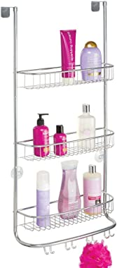 mDesign Metal Wire Over Shower Door Caddy, Bathroom Hanging Storage Organizer Center, Built-In Hooks, 3 Tier Shelves for Show