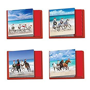 The Best Card Company - 12 Beautiful Holiday Note Cards  4 x 5.12 Inch  - Christmas Cards Assortment with Envelopes  4 Designs 3 Each  - Gallops and Greetings MQ5074XSG-B3x4
