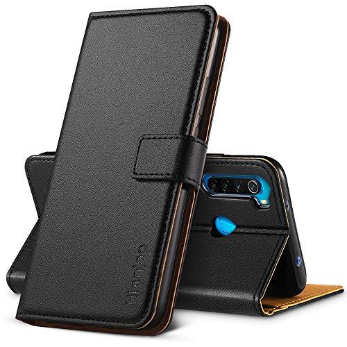 Hianjoo Hülle Kompatibel für Xiaomi Redmi Note 8, Handyhülle Tasche Premium Leder Flip Wallet Hülle Kompatibel für Xiaomi Redmi Note 8 [Standfunktion/Kartenfächern/Magnetic Closure Snap], Schwarz