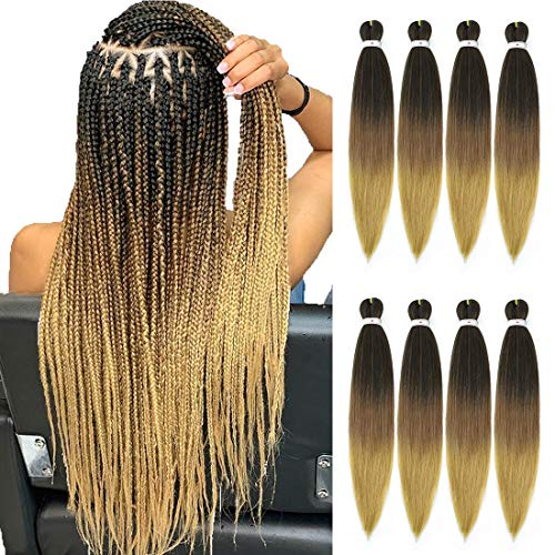 Pre stretched Braiding Hair 26inch 8 packs Hot Water Setting Professional Box Braid Yaki Texture Soft Itch Free Synthetic Fiber Crochet Twist Braids Hair Extensions (1B/30/27)