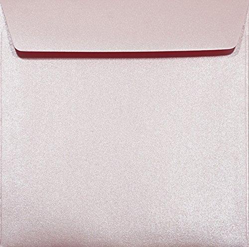 25 Perlmutt-Rosa quadratische Briefumschläge gerade Klappe 156x156mm 120g Majestic Petal Umschläge quadratisch aus Metallic Papier glänzende Kuverts Rosa metallicfarbene Briefhüllen aus Pearlpapier