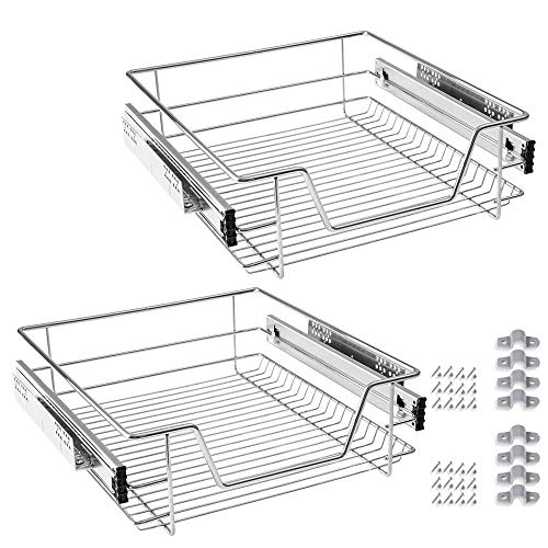 Froadp 2 Stück Küchen Regal Teleskopschublade Schlafzimmerschublade Schrankauszug Ausziehbare Ablage Geeignet für 50cm Schränke(Tatsächliche Breite 47cm)
