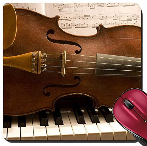 Not Applicable Suqare Mousepad Alfombrillas de ratón/Mat Violín Viejo acostado en un Teclado de Piano con partituras detrás