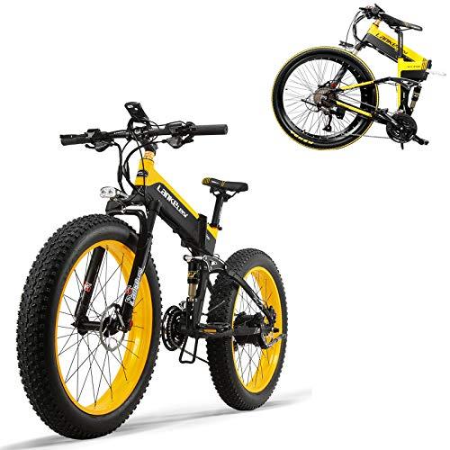 MDDCER 3 En 1 Plegable Electric Mountain Bike- 500W Bicicleta Eléctrica De 48V con Extraíble 12.8AH Litio-20a Vector Controlador Fat Tire Bicicleta Eléctrica