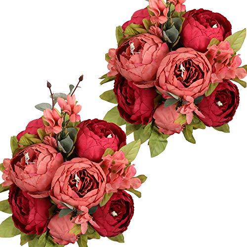 Nubry 2 Piezas Artificial Peonía Seda Flores Bouquet para Boda Inicio Jardín Fiesta Decoración (Rojo Oscuro)