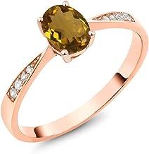 Gem Stone King 10K Rose Gold Diamond Ring with 0.76 Ct Oval Whiskey Quartz