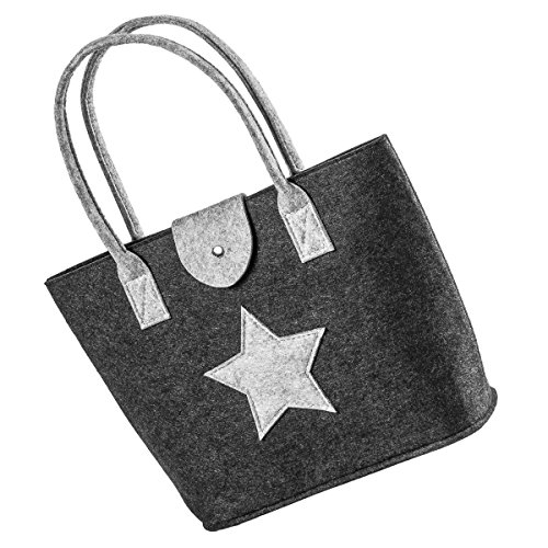 LaFiore24 Filztasche Einkaufstasche Stern Damen Handtasche Filz Shopper Festival Bag Henkeltasche Aufbewahrung (Dunkelgrau)