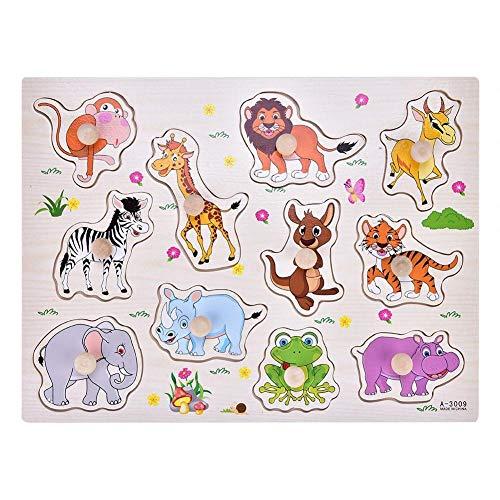 1 Set Madera Puzzle para Ni?os Peque?os Aprendizaje en Casa Educación Temprana 4 Estilos Formas (Animales)