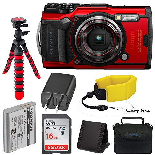 Olympus Tough TG-6 Waterproof Digital Camera (Red) + Pixibytes Basic Bundle + Underwater Package