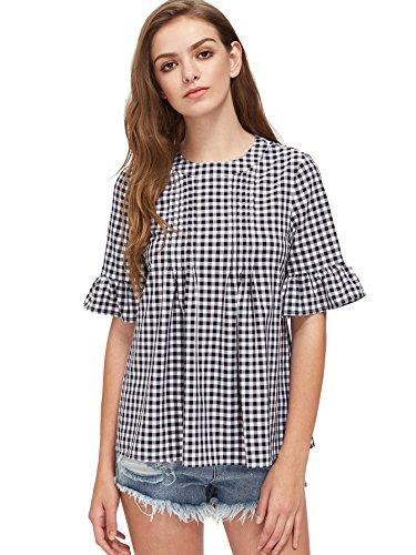 ROMWE Women's Cute Blouse Short Sleeve Summer Tunic Top Black M