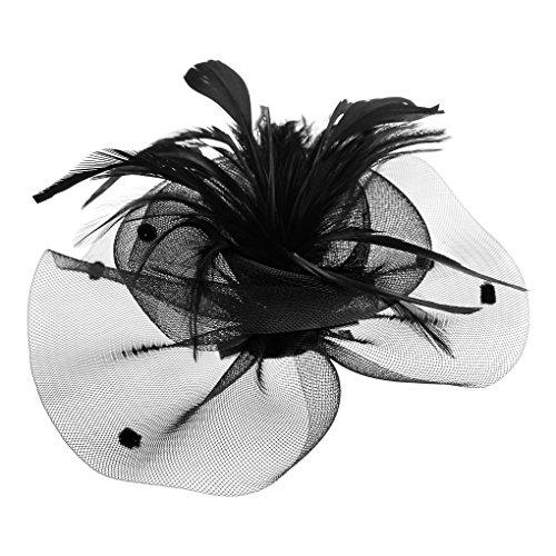 FakeFaceFascinator Hüte mit Feder Blumen Haar Clip Haarreif Haar Accessoire Netz-Mütze Schleier Tea Party Hochzeit Kirche Haarschmuck Kopfschmuck Kopfbedeckung für...