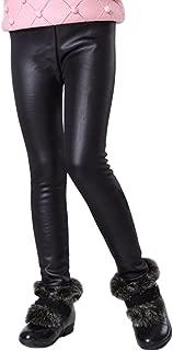 Kids Winter Warm Leggings Stretch Girls Faux Leather Fleece Pants Thick Trousers