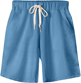 Gooket Women's Soft Knit Elastic Waist Jersey Bermuda Shorts with Drawstring