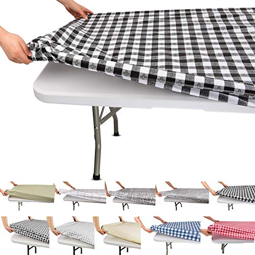 Tablecloth for Folding Table -Fitted Rectangular Table Cloth for 6 Foot - Size 32 x 72 inch - (180 x 75 cm) Plastic Vinyl Backed with Elastic Rim- for Christmas|Parties,Picnic,(Black and White Plaid)