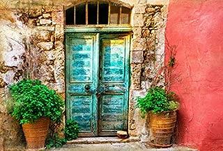 Leyiyi 8x6ft Photography Backdrop Greece Architecture Background Italian City Street Vintage Rural Building Oilpaiting Door Mediterranean Style Grunge House European Photo Portrait Vinyl Studio Prop
