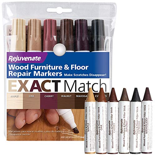Rejuvenate New Improved Colors Wood Furniture & Floor Repair Markers Make Scratches Disappear in Any Color Wood Combination of 6 Colors Maple Oak Cherry Walnut Mahogany Espresso and Crayons Set