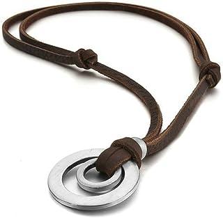 Bishiling 5 * 31 mm in acciaio inox circolare collana ciondolo in pelle per uomini donne