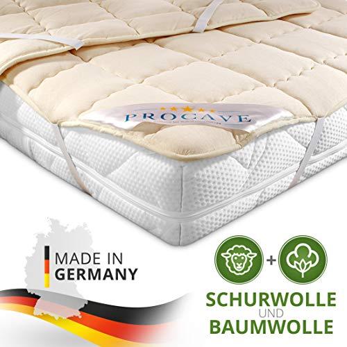 PROCAVE weiches Unterbett aus Schurwolle, atmungsaktiver Matratzen-Schoner, Matratzenbezug mit 4 Eckgummis,Matratzen-Auflage 180x200 cm