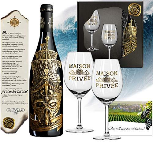 Matador Del Mar Wein-Geschenk mit 2 Kristallgläsern (Echt-Gold) Rotwein-Set Bordeaux Syrah mit Zertifikat für Weinkenner und Luxus-Liebhaber Weihnachten Kapitän