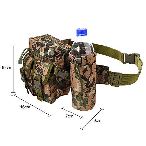 HoYiXi Tragbar Taktisch Hüfttasche mit Trinkflasche Behälter Gürteltasche zum Wandern Radfahren Klettern Angeln Wasserdicht militärisch Taille Gürtel Multifunctional Bauchtasche -Tarnung01