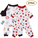 <span class='highlight'><span class='highlight'>Amakunft</span></span> 2-pack Dog Clothes Dogs Cats Onesie Soft Dog Pajamas Cotton Puppy Rompers Pet Jumpsuits Cozy Bodysuits for Small Dogs and Cats
