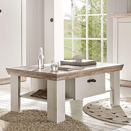 Lomadox Landhaus Couchtisch 109cm in Pinie weiß Tischplatte Oslo Pinie dunkel
