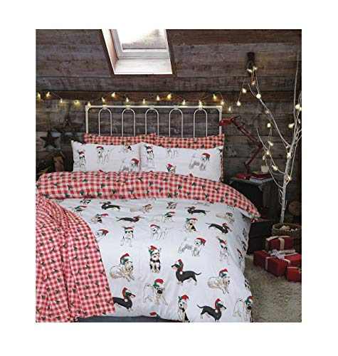 Christmas Santa's Dog Reversible Printed Design Double Size Duvet Bed Cover Set With Pillow Case, Christmas Checkered Leafy Reversible Duvet Bedding Cover - Double Size