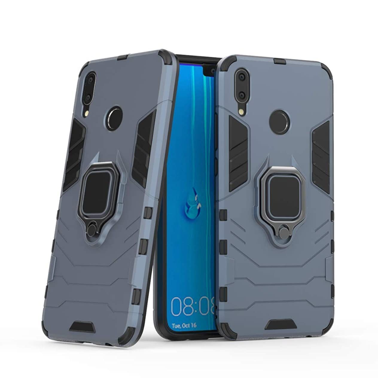Lantier 360 Degree Rotation Durable Armor Ring Kickstand Holder and Full Protective Shockproof Case for Huawei Y9 (2019)/Enjoy 9 Plus Dark Blue lqpsovfz256