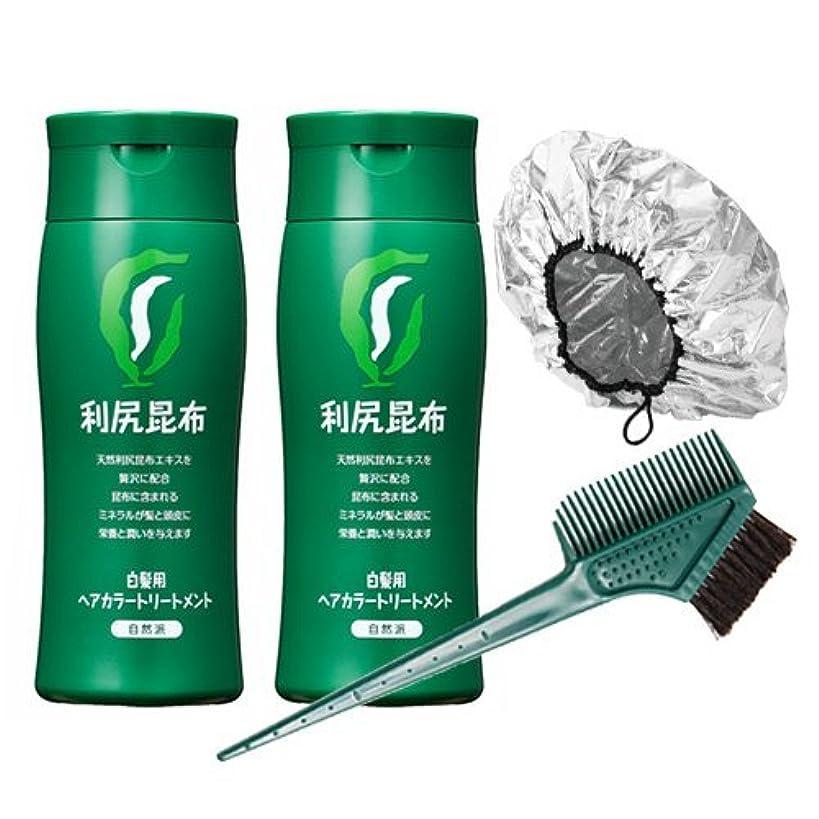 吸収するオール利尻ヘアカラートリートメント白髪染め 200g×2本(ブラック)&馬毛100%毛染めブラシ&専用キャップセット