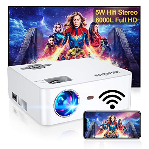 """WiFi Projector, Native 1080P and 300"""" Supported, WiMiUS S2 6000L HD Mini Outdoor Movie Projector, Portable Phone Projector w/ Wireless Mirroring for Fire Stick, HDMI, USB,TV Box, Laptop, DVD, 2021"""