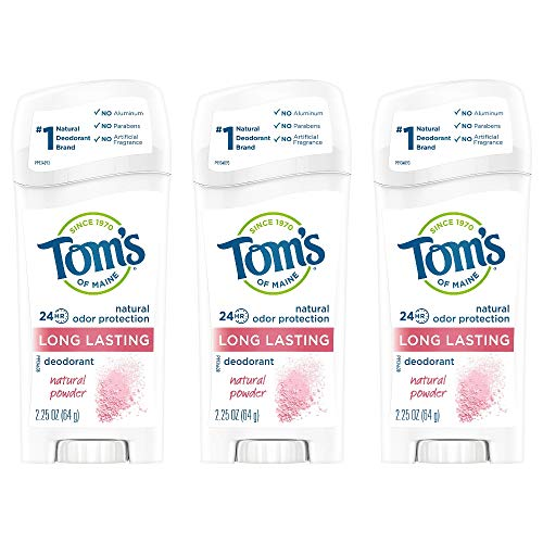 Tom's of Maine Long-Lasting Stick Deodorant, Deodorant for Women, Natural Powder, 2.25 Ounce, Pack of 3