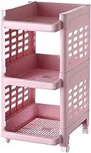 XINGDONG Półka Wózek PP Wózek Domowy Wózek Kuchnia Przechowywanie Ruchome Trwałe (Kolor: Różowy, Rozmiar: 3 warstwy)