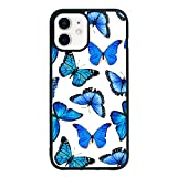 Blue Butterfly Cell Phone Case for iPhone 12/12 Pro 6.1 Inch - Shockproof Protective Cute Cool Butterflies Phone case Phone Case Designed for iPhone 12/12 Pro Case for Girls Teens Women Blue White