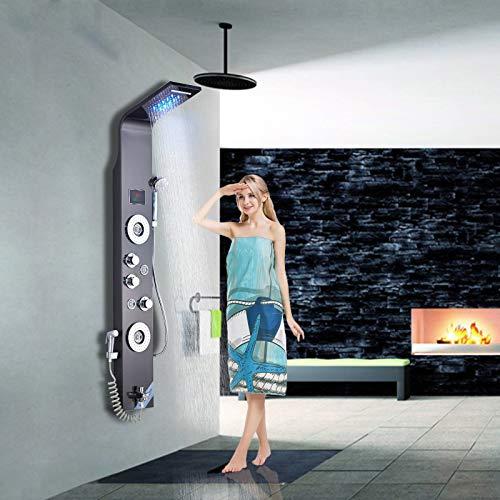 Saeuwtowy - Colonna da doccia a LED, pannello da parete, stile moderno, in acciaio inossidabile 304, pannello doccia con doccetta multifunzionale, l'acqua di uscita