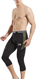 Men's 3/4 Compression Pants Leggings Tights, Cool Dry Sport Workout HeatGear Capri Base Layer Running Cycling
