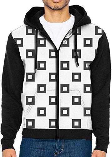 xinfub Herren 3D-Druck Buffalo Black und White Squares Sweater Zip Hoodie