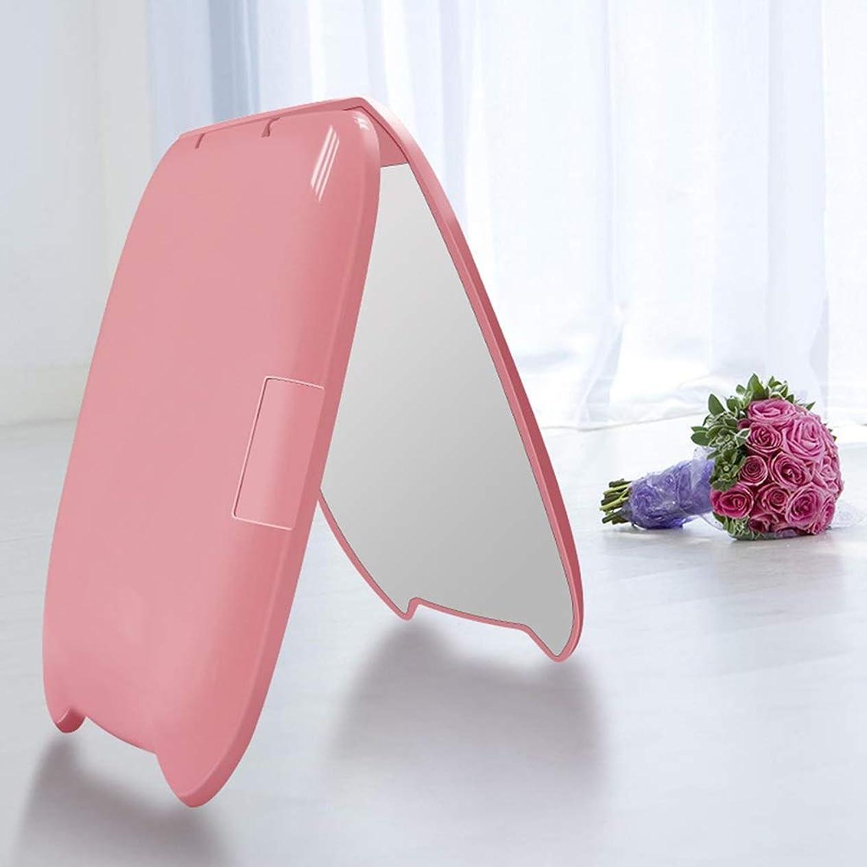 ブロンズ保全あまりにも流行の ミニポータブル猫耳LED化粧鏡2回化粧小さな化粧鏡美容鏡化粧鏡ピンク