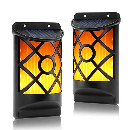 LED Solarleuchte für Außen, 2er Pack Solar Wandleuchte mit Flackernd Tanzen Flamme, Solarlampen für Außen mit IP65 Wasserdicht, Ideal für Flur, Wand, Garten, Hof, Party