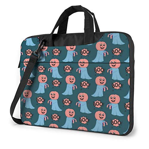 Ghost with Head of A Pumpkin Cute Laptop Case Laptop Shoulder Messenger Bag Sleeve 15.6 Inch