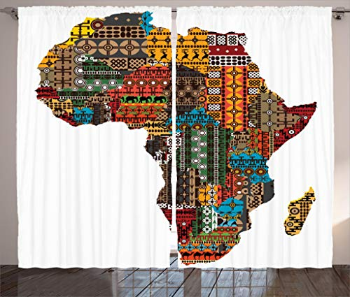 """Ambesonne African Curtains, Map with Countries Architectural Feature Popular Continent Artwork, Living Room Bedroom Window Drapes 2 Panel Set, 108"""" X 84"""", Multicolor"""