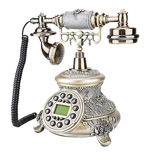 CXYY Festnetz Retro-Telefon,Weinlese-Klassisches Telefon Harzimitation Kupfer Vintage Style Rotary Retro Altmodische Rotary Dial Home Und Büro Telefon Telefon Home Wohnzimmer Dekor