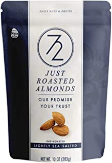 72 Just Roasted Almonds 20 OZ (10 OZ x 2 PACKS), light-salted, NON-GMO, Certified Gluten Free, Made Fresh