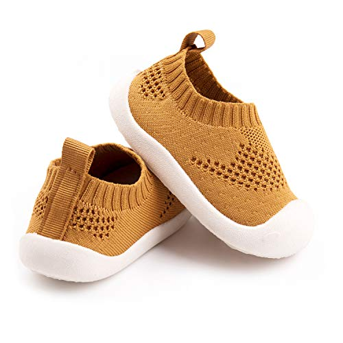 Baby First-Walking Shoes 1-4 Years Kid Shoes Trainers Toddler Infant Boys Girls Soft Sole Non Slip Cotton Mesh Breathable Lightweight Slip-on Sneakers Outdoor(Yellow,4 Toddler) T15