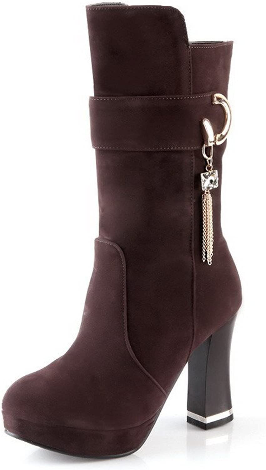 WeenFashion Women's Pull-on High-Heels Imitated Suede Solid Low-top Boots