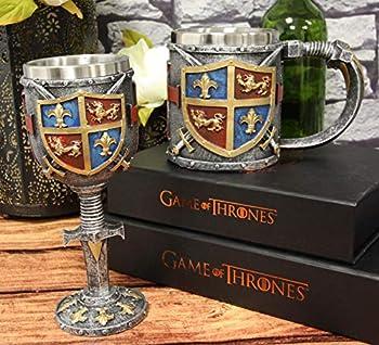 Ebros Lion And Fleur De Lis Coat Of Arms Heraldry Medieval Renaissance Crusader Knight Suit of Armor Drinkware Serveware With Excalibur Sword Handle Stem Decor Accent Set of 2 Wine Goblet And Mug