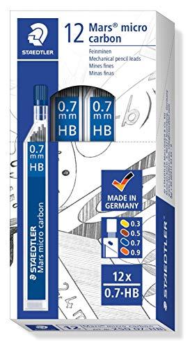 Staedtler Mars micro carbon 250 07-HB. Minas finas de grafito. 12 tubos de minas de 0,7 mm y graduación HB.